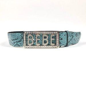 Bebe Swarovski Crystal Logo Blue Snakeskin Belt